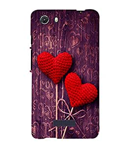 printtech Love Heart Wooden Pattern Back Case Cover for Micromax Q372 Unite 3