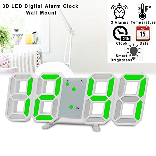 ... 3D LED Digital Wecker Elektronische Büro Wandhalterung, 24/12  Stundenanzeige, Helligkeit Auto Dimmbare Home Bedside Desktop Schlafzimmer  Wohnzimmer Uhr ...