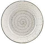 H&H Giotto Salatschüssel, Keramik, handbemalt, Weiß/Grau, 25 cm