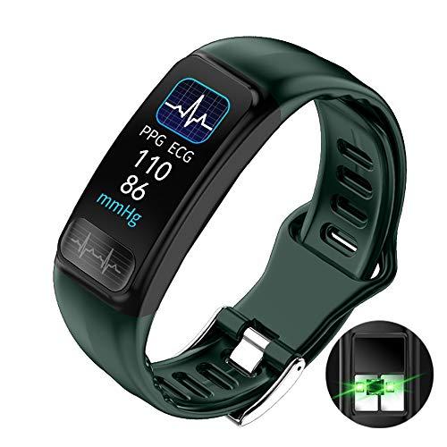 HXHH EKG + PPG Dual-Monitoring, Blut-Sauerstoff-Blutdruck-Schlaf-Monitoring-Smart Watch mit wasserdichtem Sport-USB Direct Charge Watch - Android und iOS,Grün