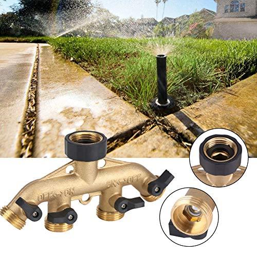 Zunate 4-Wege-Gartenschlauch zu Schlauchverbinder,4 Wege Verteiler 3/4 Zoll mit Absperrhähnen für 4 Zulaufschläuche,Fit für Standard 3/4 Durchmesser Verbindung.(2) -