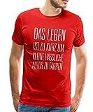 Spreadshirt Leben zu Kurz für Kleine Autos Männer T-Shirt, 5XL, Rot