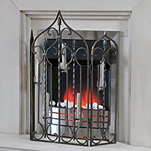 'Waterford' Ornate Iron Fire Guard / Screen with 5 Candle Holders - Midnight Black Finish