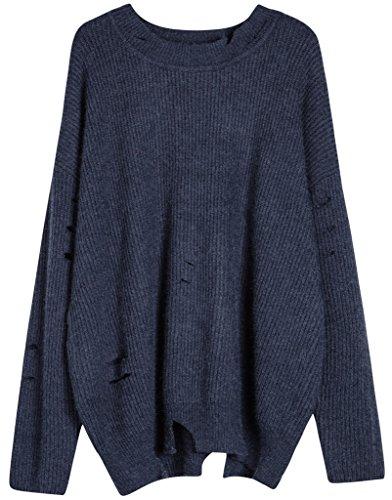 Vogueearth Fashion Femme's Longue Manche Crew Neck Knit Loose Jumper Sweater Chandail Tricots Pullover Foncé Bleu