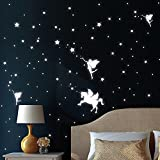 Wandtattoo-Loft Leuchtaufkleber Drei Elfen mit Einhorn, Sterne und Punkt - Leuchtende Sticker für...