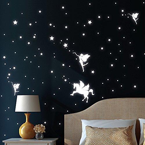 """Wandtattoo Loft """"Drei Elfen mit Einhorn, Sterne und Punkt"""" Leuchtaufkleber - Wandtattoo fluoreszierende leuchtende Sticker für einen tollen Sternenhimmel im Kinderzimmer"""