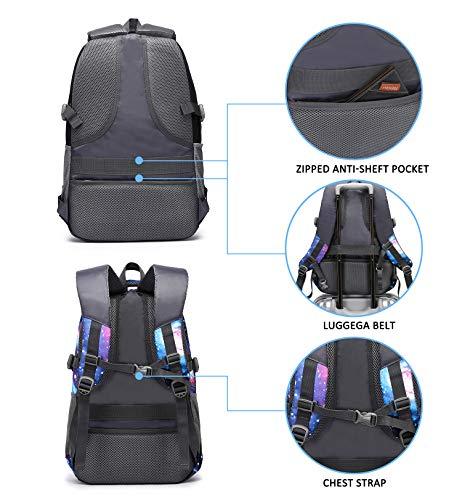 E-ZONED Zaino Scuola Superiore Per PC 15.6 Pollici da Donna e Uomo, Backpack Portabile Casual Rucksack per Laptop Universita Viaggio con Presa Ricarica USB (Galassia) - 5