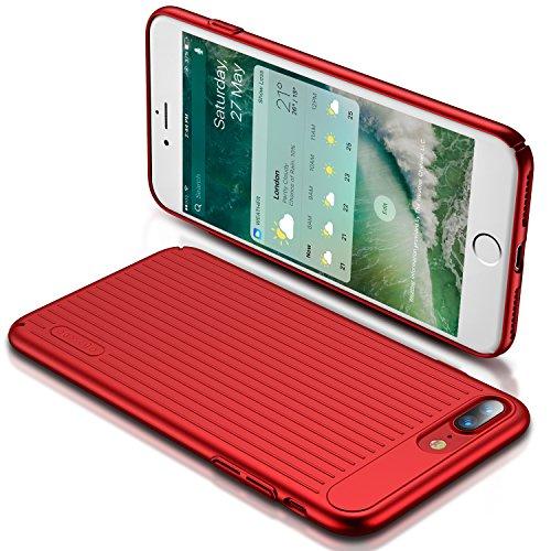 iPhone 7 Plus Hülle, TORRAS [Designer Edition] Slim Dünne Anti-Scratch Anti-Fingerabdruck Hardcase Handyhülle Hochwertigem Case Cover für Apple iPhone 7 Plus - Silber Glücklich Rot