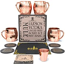 Krown Kitchen - Hammered Moscow Mule Copper Mugs Set of 4 | 16 oz