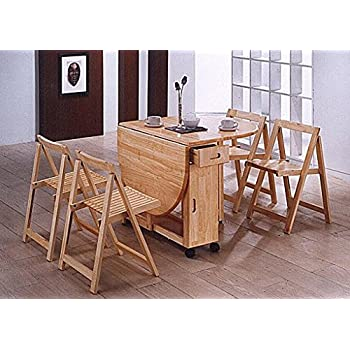Folding Dining Set Drop Leaf Table and Chairs Butterfly Dining