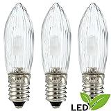 LED-Riffelkerze gefrostet - Sockel E10 - warmweiß - 0.2W - Original Erzgebirge Schwibbögen - Erzgebirge-Palast