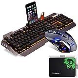 UrChoiceLtd Technologie Tastatur Maus Orange Gelb LED Hintergrundbeleuchtung Usb Spiel Tastatur Mit einem Telefon Stand + 2000DPI Gaming Maus Sets + Spiel Mauspad (Schwarz Grau)