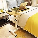 YY&L Tragbare Multifunktions Lift Mobile Computer Tischständer, Laptop Höhenverstellbar, Rad Bettcouchtisch, Metallrahmen Und Natürliche Oberfläche, Weiß,B