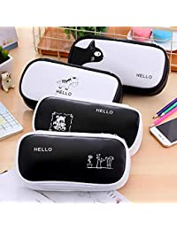 Gran capacidad lápiz caso lindo dibujos animados multifunción lápiz bolsa negro blanco pluma bolsa papelería bolsa
