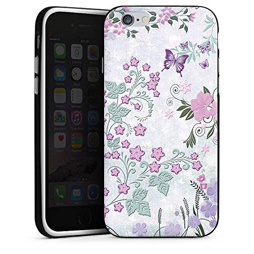 Apple iPhone X Silikon Hülle Case Schutzhülle Schmetterlinge Blumen Ranken Silikon Case schwarz / weiß