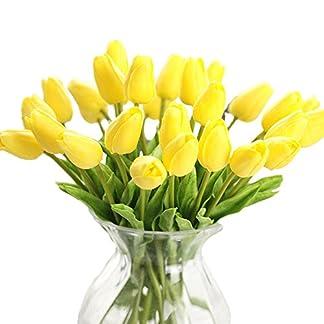 Xueliee Ramo de flores artificiales de seda de tulipán de tacto real, ramo de boda para decoración floral para el hogar o fiesta, tela de seda, Amarillo, Paquete de 5