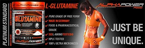 ALPHAPOWER FOOD® – ALPHAPURE® SERIES: 100%* L-GLUTAMINE POWDER, L-Glutamin Pulver, Pures und freies hochdosiertes Aminosäuren Glutamin Pulver (1x1000g Dose, Abbildung 1) für 200 Anwendungen / 200 Servings / Keine