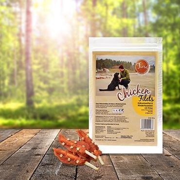 Gesunde Hund Leckerlis Huhn | Geflügel Kausnack mit Rinderhaut | Tiera Premium Hühnchenfilet mit Rinderhautsticks und Käse