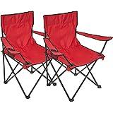 2x Silla plegable Silla de camping con soporte para bebidas en reposabrazos silla plegable, rojo