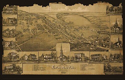 Antique Map of Ephrata Pennsylvania 1887 Lancaster County Kunstdruck (45,72 x 60,96 cm) - 1887 Antique Map