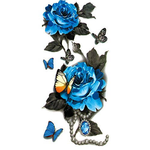 Liqiqi Tattoo Aufkleber Frauen, 3D Schmetterling Blume temporäre Tattoo Aufkleber für Körper, Gesicht, Arm/Armband Wasserdichte Fake Tattoos, Temporäre Tattoos Blau