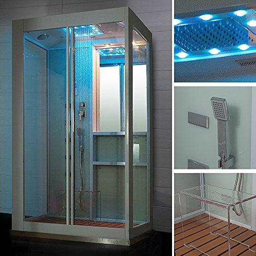 Home Deluxe White Luxory XL Duschtempel, inkl. Dampfsauna und komplettem Zubehör