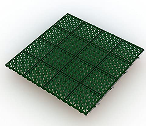 ALTADirekt Bodengitter Bodenfliese Rasenfliese Bodenrost Kunststoff 333mm x 333mm x 10,5mm (Grün)