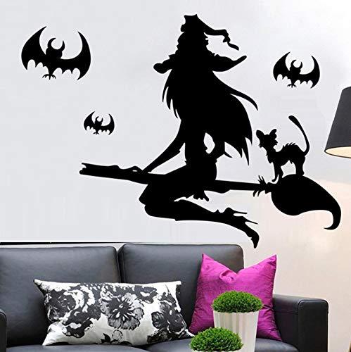 Xbwy Halloween Hexe Wandaufkleber Pvc Removable Home Dekoration Aufkleber Kunst Spuk Wandaufkleber Wohnzimmer (Halloween Wallpapers Spuk)