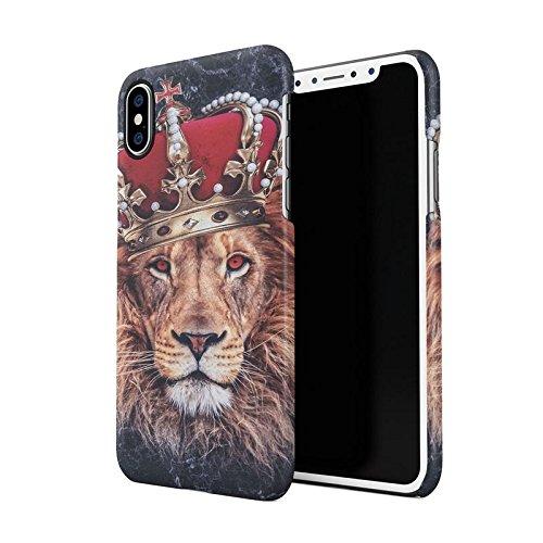 Jungle King Queen Lion Trill Gold Tumblr Dark Blauer Marmor Dünne Rückschale aus Hartplastik für iPhone X Handy Hülle Schutzhülle Slim Fit Case cover (Gold Cheetah Wild)