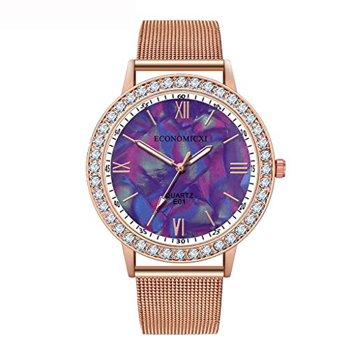 2019 Damen Armbanduhr, Quarz Anolog Mode Uhr Blume Strass Wrist Watch Luxus Mesh Band Geschenk Uhren, Armbanduhr Frauen ()
