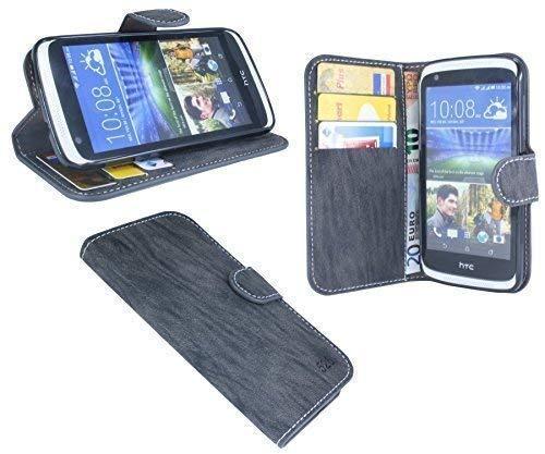 HTC Desire 526G // Buchtasche Hülle Case Tasche Wallet BookStyle mit STANDFUNKTION in Anthrazit @ Energmix