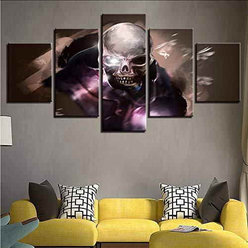 Kunstwerk Bild Modular HD Gedruckt 5 Stücke Abstrakte Schädel Gesicht Leinwand Malerei Dekoration Wohnzimmer Wandkunst Poster 30x40/60/80cm,with frame (Für Halloween Malerei-schädel-gesicht)