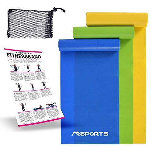 Fitnessband 3er Set mit Tragetasche und Übungsposter - Leicht | Medium | Stark - Fitnessband Trainingsband Gymnastikband