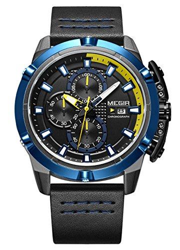 MEGIR – Montre Mécanique Sport Homme Stéréoscopique Bracelet Cuir Aiguille Lumineux Classique, Montre Quartz Alliage Étanche Boucle Pratique Date Cadeau – Bleu et Noir