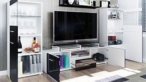 Wohnwand schwarz Hochglanz Almada – 280 cm - 3