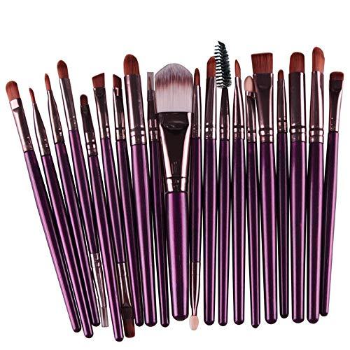 EUTUOPU Makeup Brush Set Eye Face Eyeliner Foundation Blush Lip Blending Brush Liquid Powder Cream Eye-Shadow Cosmetics Brushes Tools (20pcs, Purple/Coffee) -