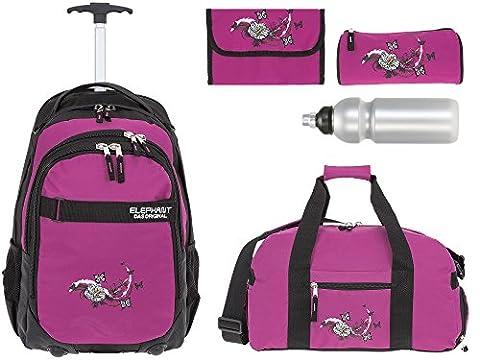 5 Teile MEGA SET: ELEPHANT Trolley HERO SIGNATURE Trolleyrucksack + Sporttasche + Mäppchen Rolle + Etui + Trinkflasche Motiv 12646 (Butterfly