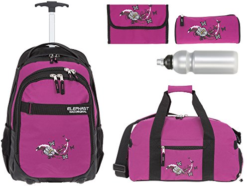 5 Teile MEGA Set: ELEPHANT Trolley Hero Signature Trolleyrucksack + Sporttasche + Mäppchen Rolle + Etui + Trinkflasche Motiv 12646 (Butterfly Magenta)
