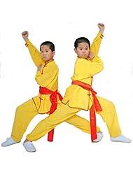 zooboo Kids '& adulto disfraz de chino tradicional Wushu Martial Arts uniformes, Long-sleeved-Yellow