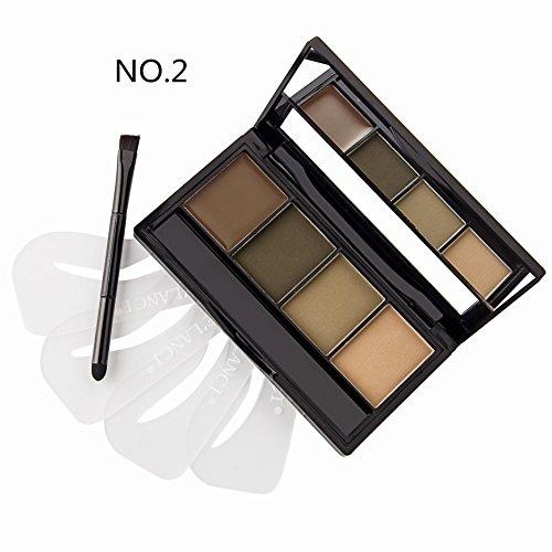 DE'LANCI 4 Color Pro-Augenbraue -Puder-Palette mit 4Pcs Augenbrauen Schablonen Set (Farbe 2)