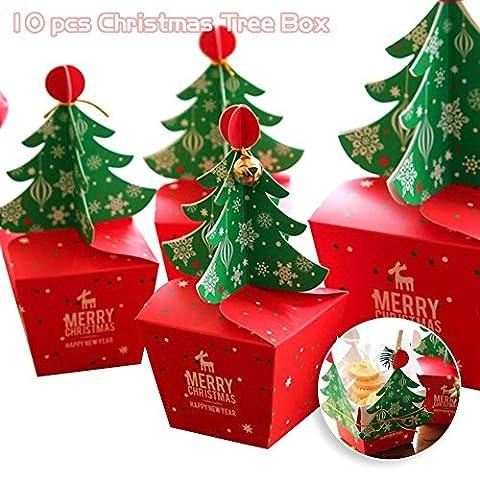 CDELEC 1 Satz / 10 STÜCKE Party Supplies Mode Glocke Weihnachtsbaum Design Candy Papier Gefälligkeiten Geschenke Schokolade Cookie Verpackung Box