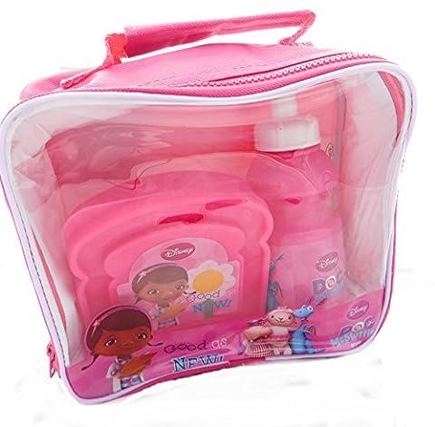 Doc mcstuffins 3 pièces lunch bag set: sac à lunch, sandwich box & boissons bouteille