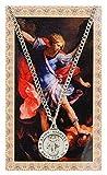 San Miguel 3/4-inch estaño medalla colgante con tarjeta de oración sagrada