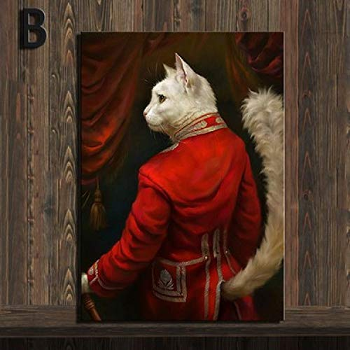 zxddzl Decoración de hogar de Estilo Retro Lienzo Animal Pintura roja Cardenal Gato Retrato póster HD Imprimir