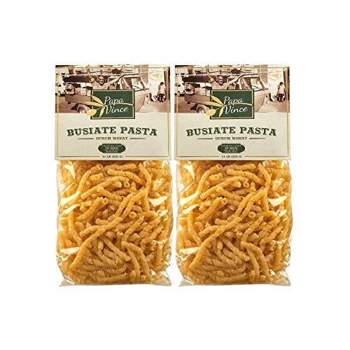 Busiate Pasta Sicily Italy Artisan - Made with Ancient Italian/Sicilian Semolina | NO GMO | Whole Grain | NO ENRICHED | AL DENTE Macaroni Holds Seafood Sauce Like a Magnet 1 kg ( 2-Packs)