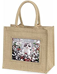 Winter Snow Kitten Large Natural Jute Shopping Bag Christmas Gift Idea