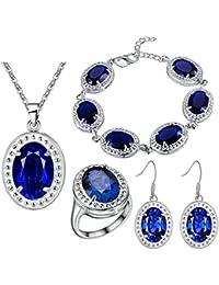 AnaZoz Joyería de Moda Juegos de Joyas de Mujer Cristal Austriaco Chapado en Plata Forma Ópalo Piedra Azul Collar y Pendientes y Pulsera y Anillo Juegos de Joyas Cuatro Piezas Color Azul