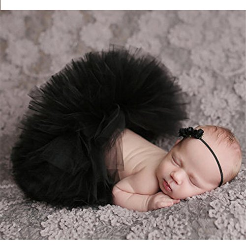 Hengsong Neugeborenes Baby Rock Tutu Kleidung Trikot Kostüm Foto Prop Outfits Bekleidung Set (Schwarz)