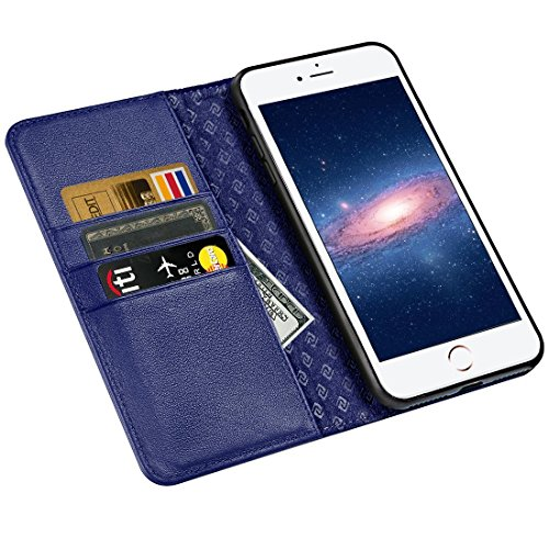 iPhone 6S Case iPhone 6 case ZOVER Genuine Leather Case Flip Folio Book Case Wallet Cover with Kickstand Feature Card Slots & ID Holder and Magnetic Closure for iPhone 6 and iPhone 6S Wine Red Navy Blue