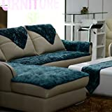 TY&WJ Plüsch Anti-rutsch Sofabezug Wohnzimmer Sofabezug Outdoor Couch-abdeckungen Möbel Protector Für ledersofa Haustier Hund & Kinder-Blau 60x210cm(24x83inch)